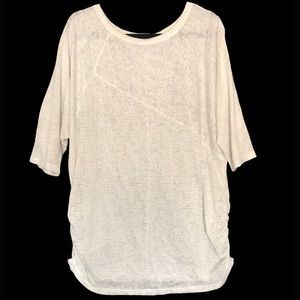 """Lane Bryant White """"Burnout"""" Ruched Sides Sweater"""